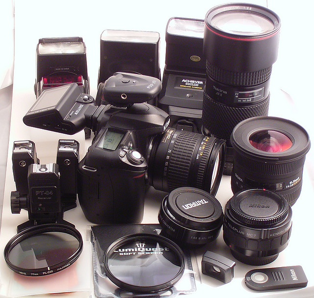 Camera equipment - Camera, lenses, flash, filters, remotes, etc. Picture by Marc Lacoste